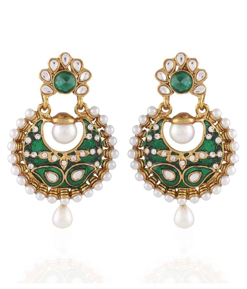I Jewels Green Style Diva Hanging Earrings