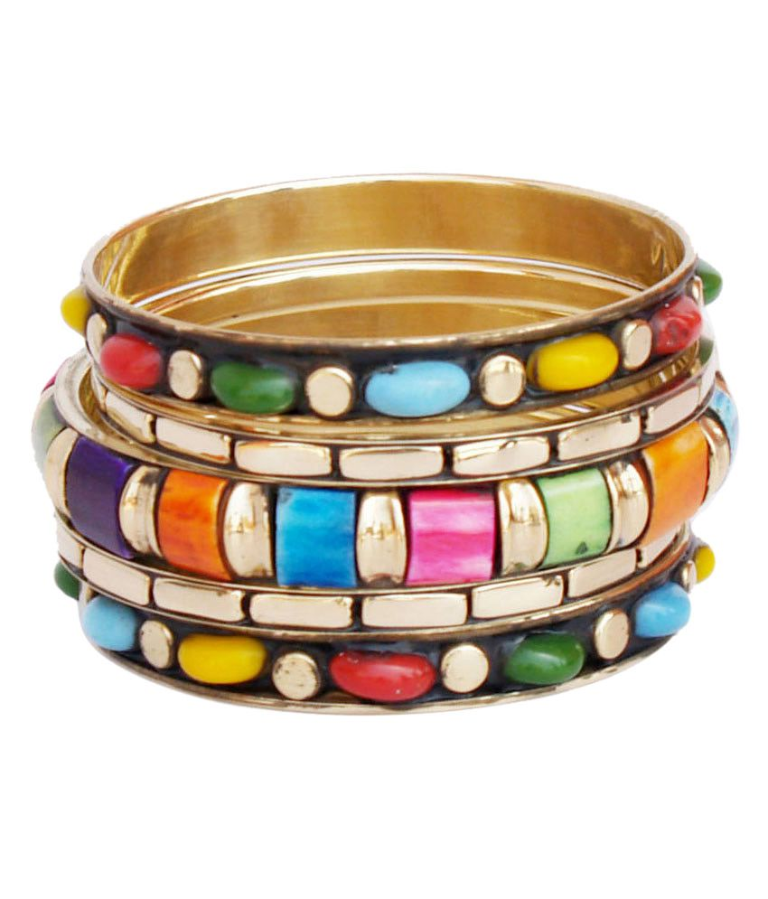 Vr Designers Metallic Golden And Colourful Bangle Set