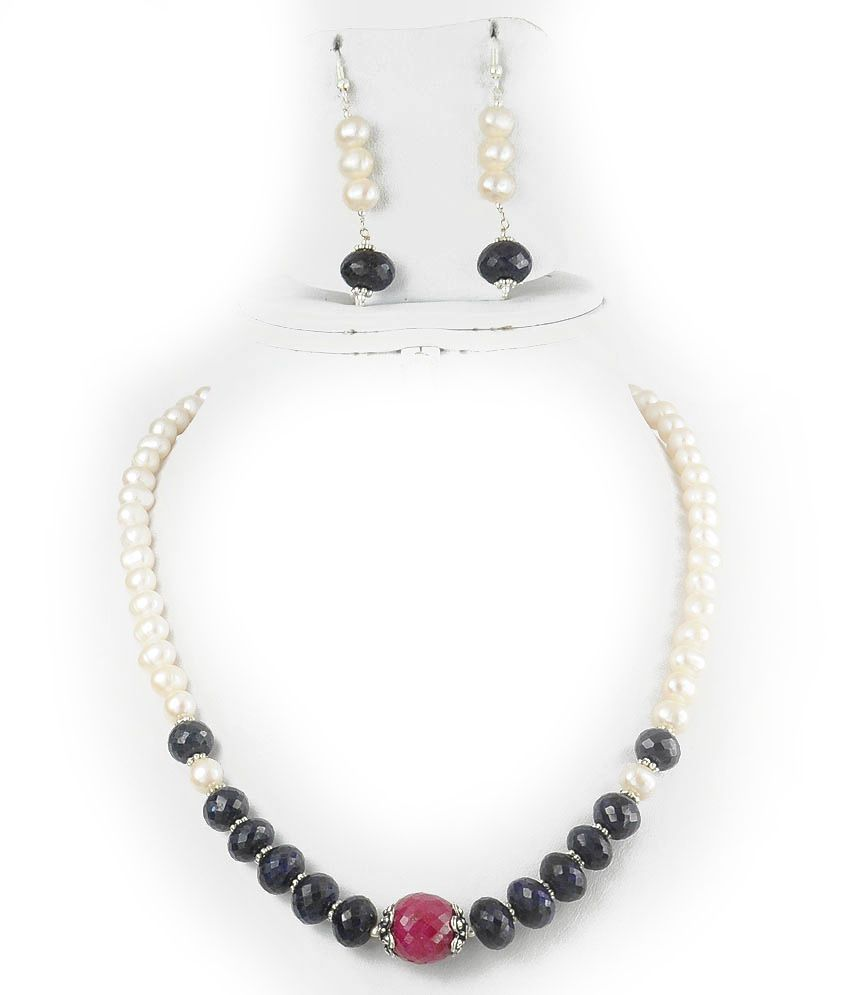 Barishh Gems Single Line Cultured Pearl Sapphire Ruby Bead Necklace