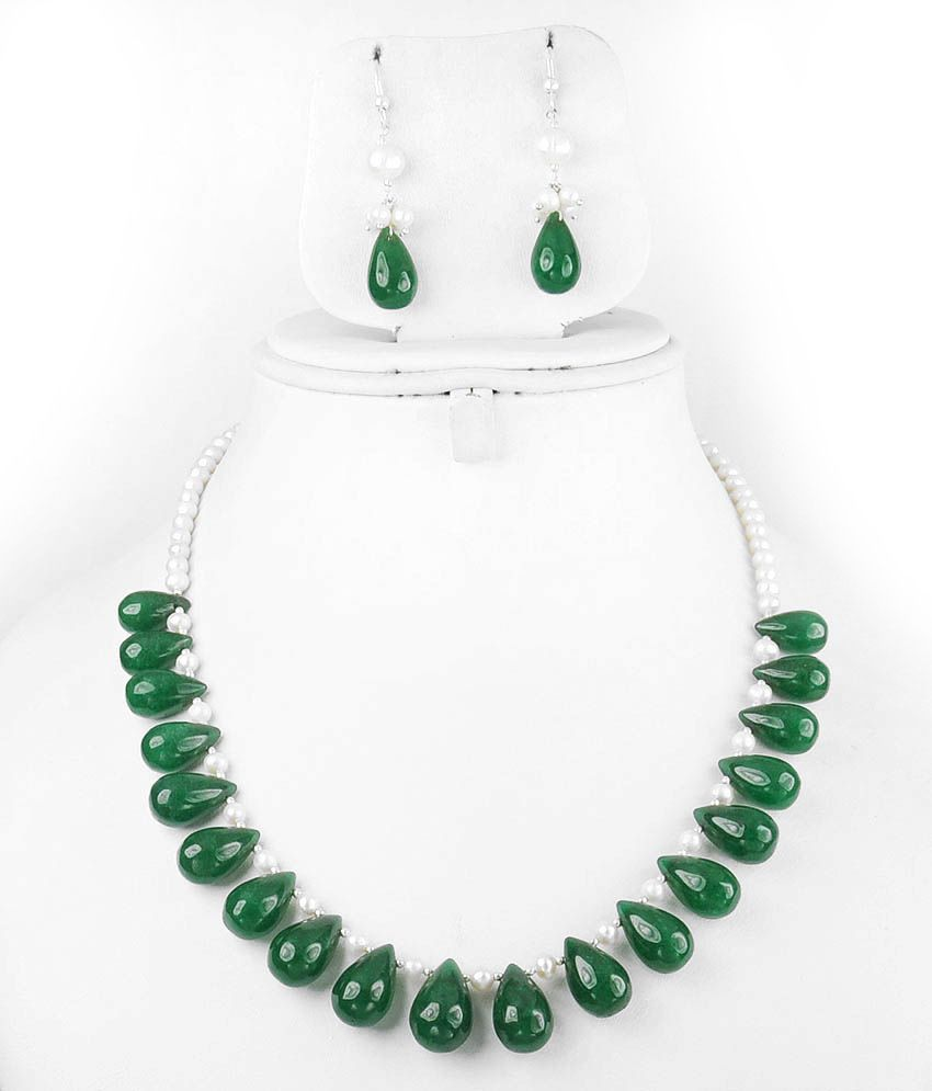 Barishh Single Strand Drop Emerald Bead With Pearl String Gemstone Necklace