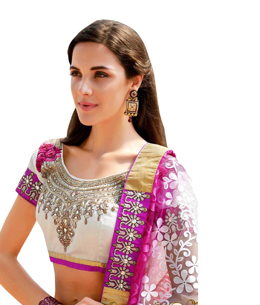 Colors Fashion Pink Embroidered Faux Georgette Saree With Blouse Piece