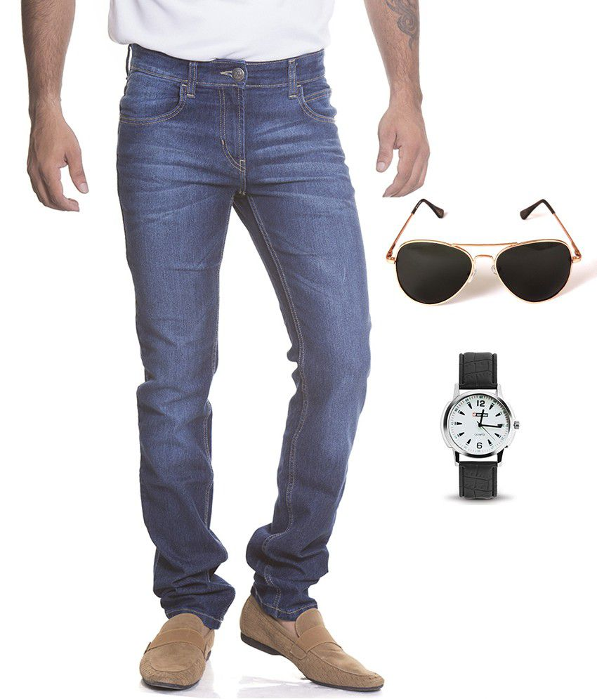 Flying Machine Blue Cotton Jeans , Lotto Sunglass & Lotto Watch Combo