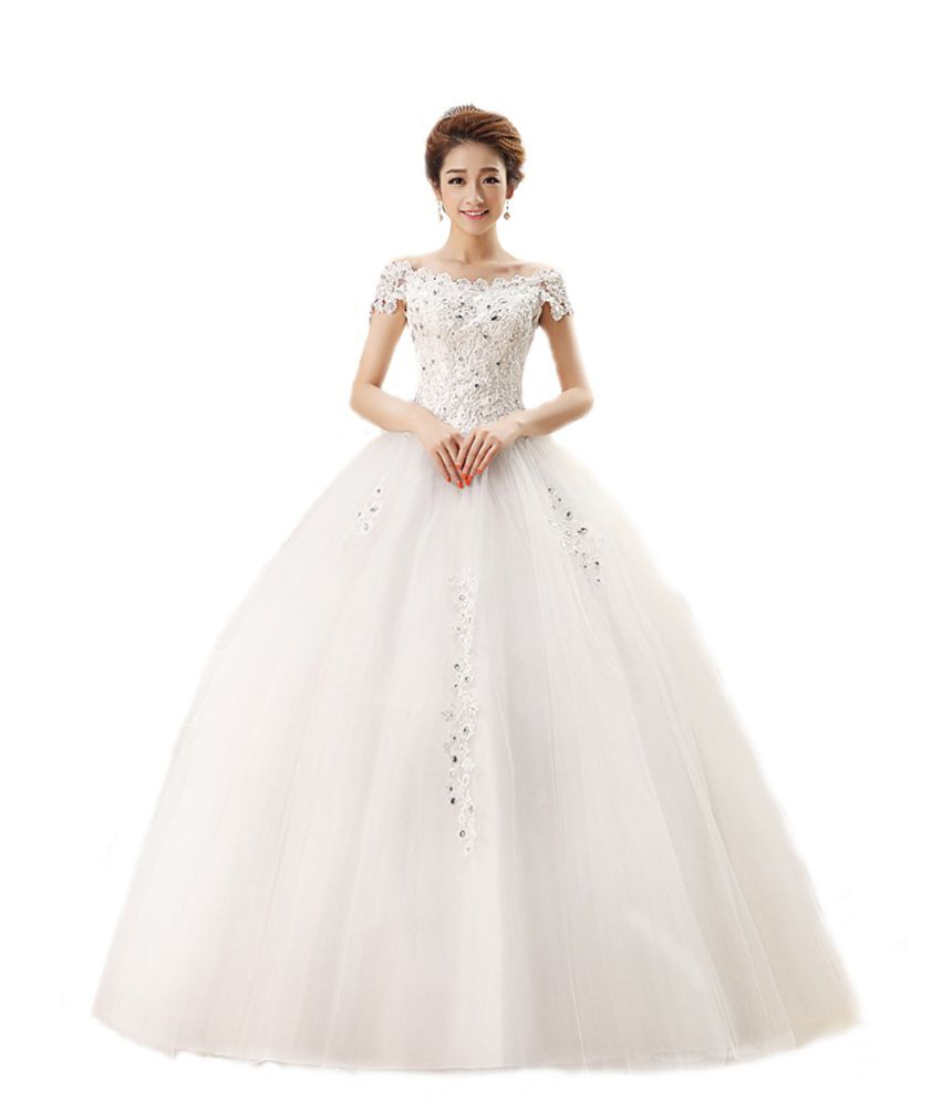ce98349c68f La Fanatise White Net Gowns - Buy La Fanatise White Net Gowns Online at  Best Prices in India on Snapdeal