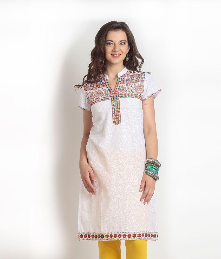Aaboli White Printed Cotton Half Long Kurti