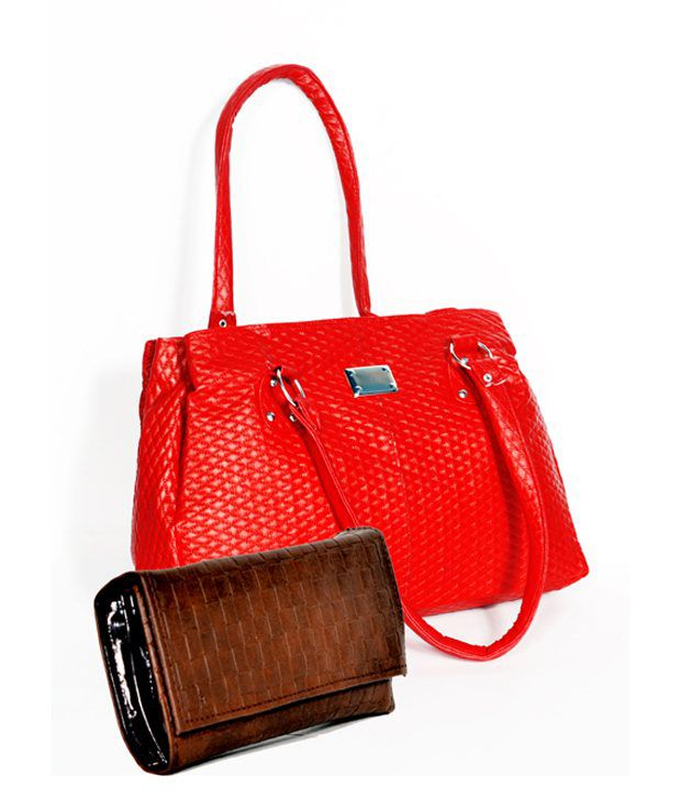 D Jindal's Beautiful Red Hand Bag With Brown Purse