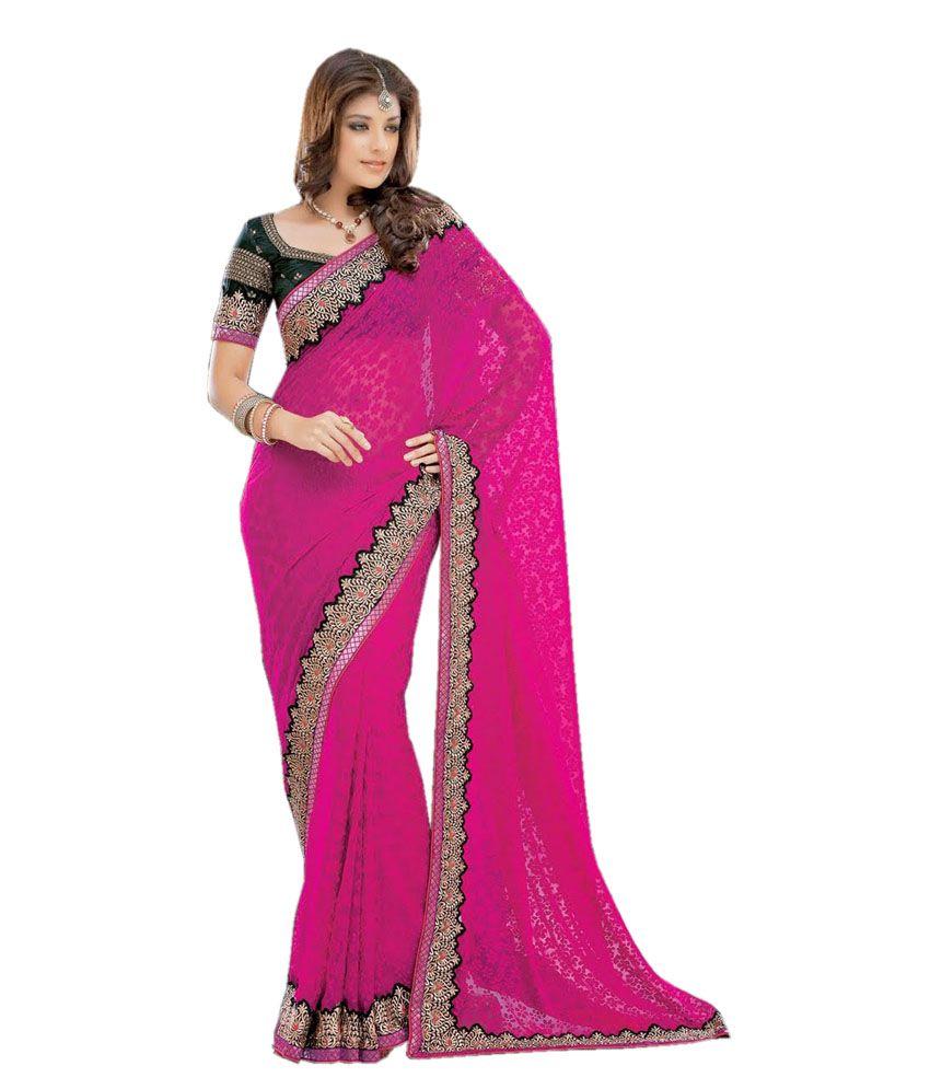 Vidya Fashions Pink Brasso Saree