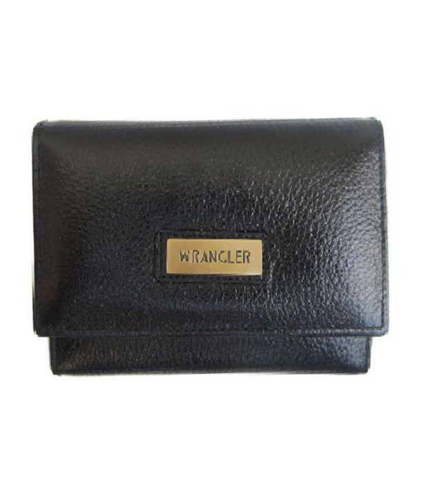 Wrangler Black Color Leather Fashionable Women Buy Wallet And Get 3 Gaurav Brand Handkerchiefs Free