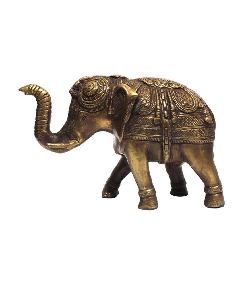 Saanvi Enterprises Gold Brass Antique Elephant Statue