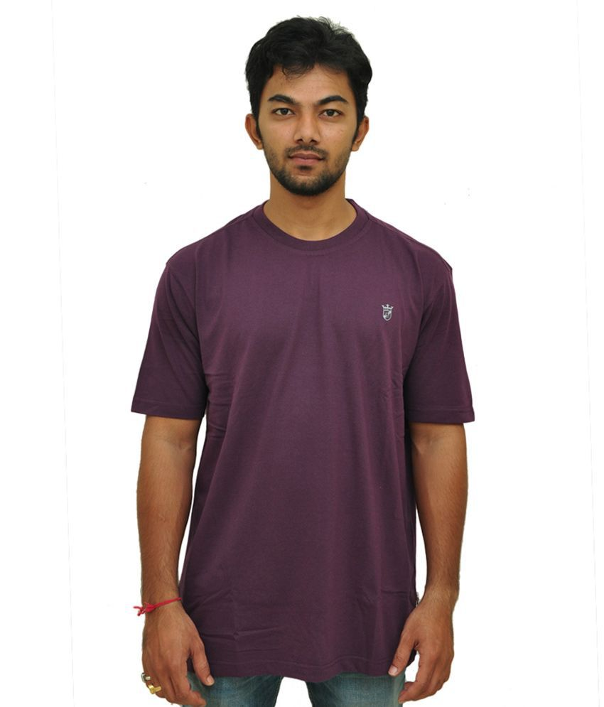 Duke Men Basic Round Neck Blackberry Color Tshirt By Return Favors