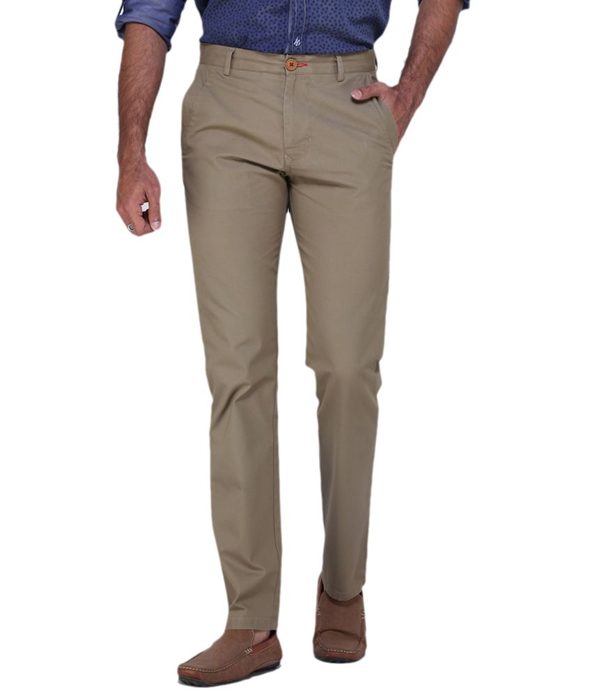 Fast N Fashion Beige Regular Fit Casual Trouser