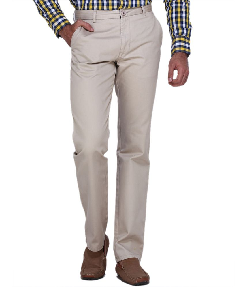 Fast N Fashion White Regular Fit Casual Chinos