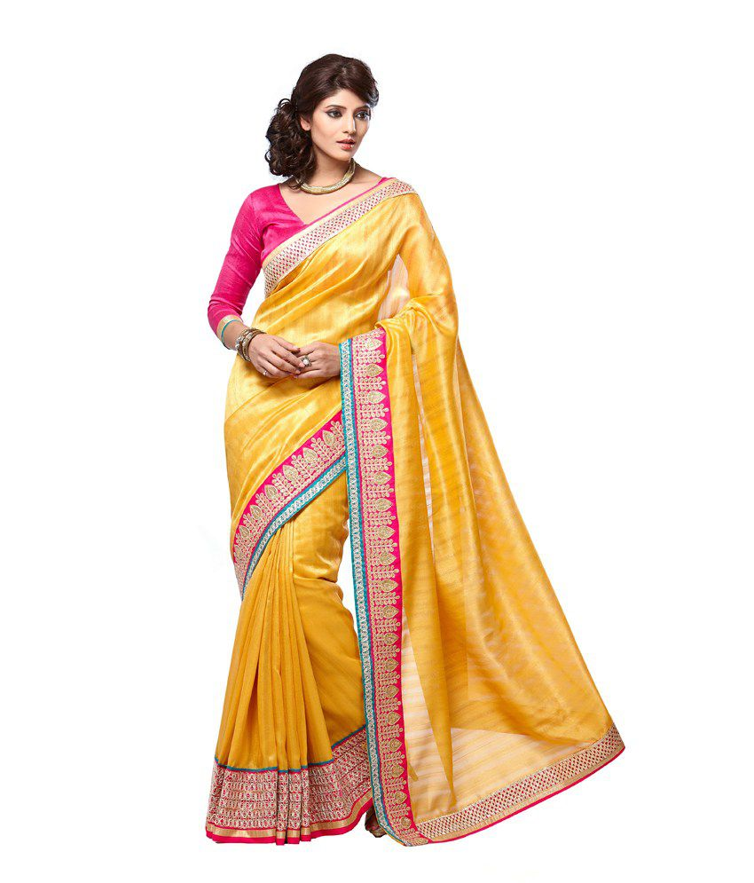 Nanda Silk Mills Yellow and Beige Bhagalpuri Silk Saree