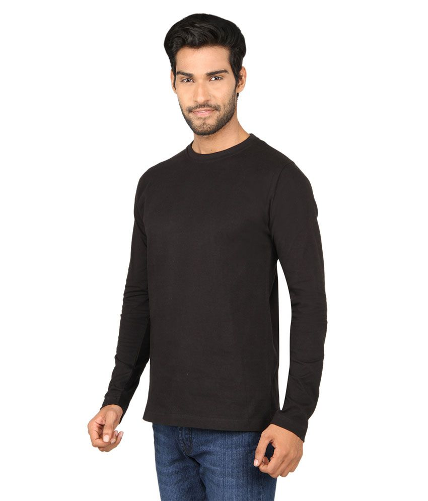 Black t shirt snapdeal -  Sayitloud Plain Black Full Sleeve T Shirt