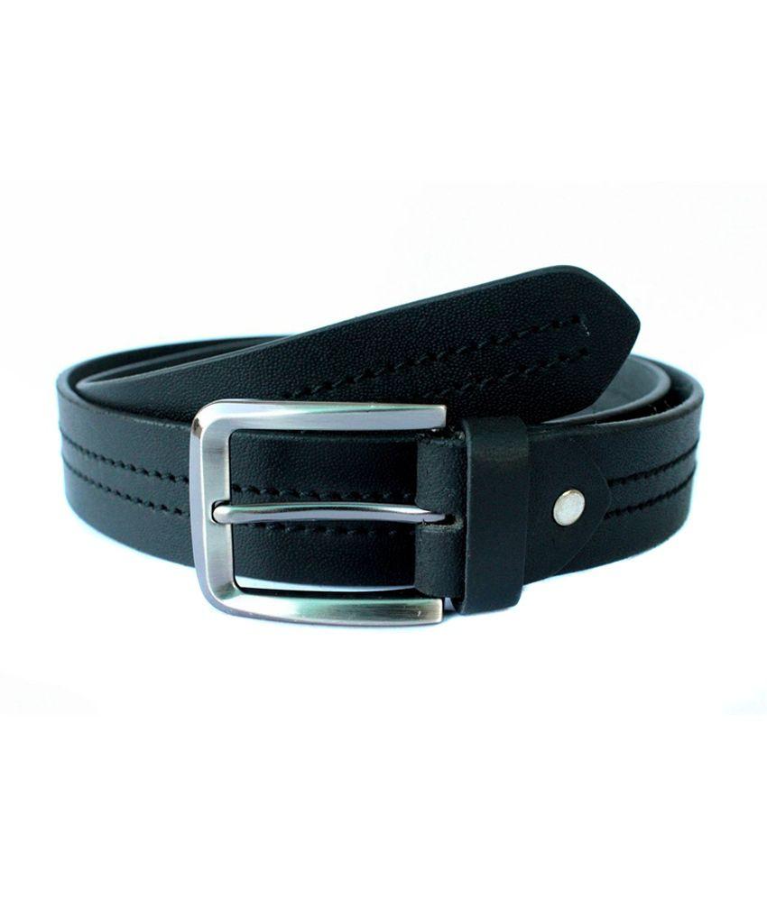 Tops Black Centre Stitched Leather Belt for Men