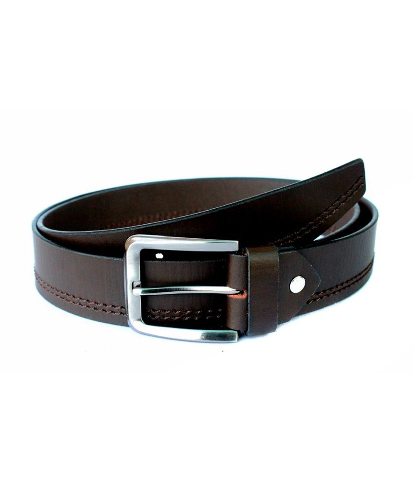 Tops Brown Centre Stitched Leather Belt for Men