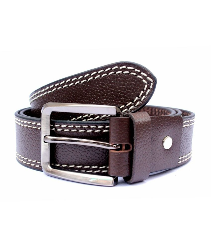 Tops Brown Side Stitched Leather Belt for Men