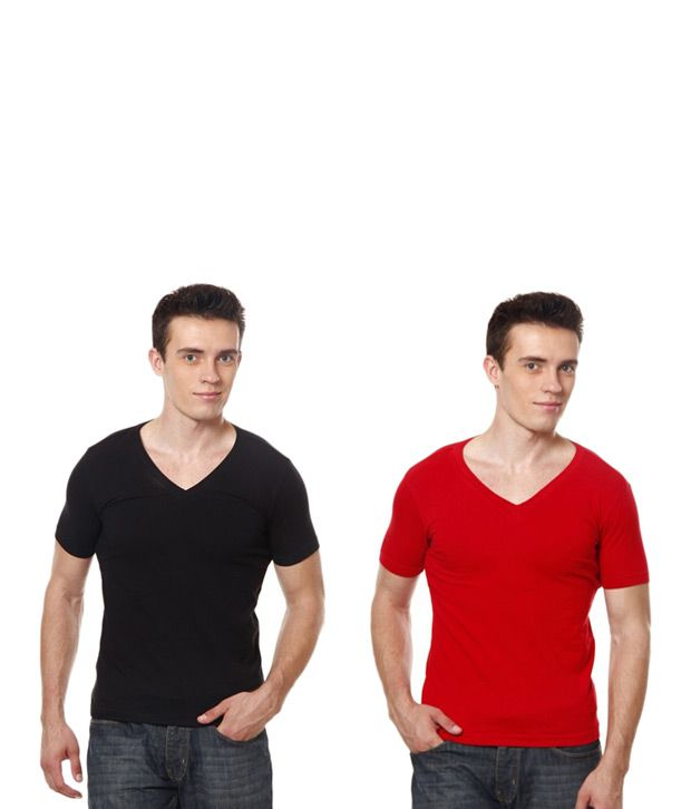 Casual Tees Black And Red V Neck T- Shirt