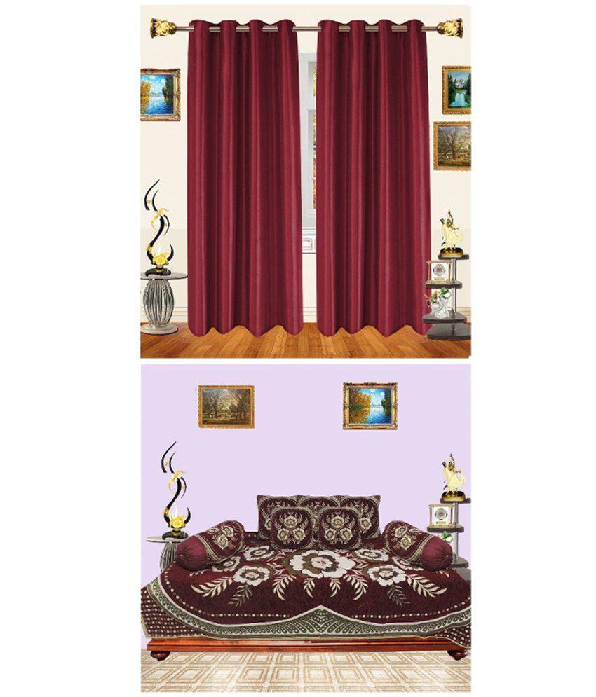 Decor Bazaar Maroondiwan Set 8 Pcs And Curtains Combo