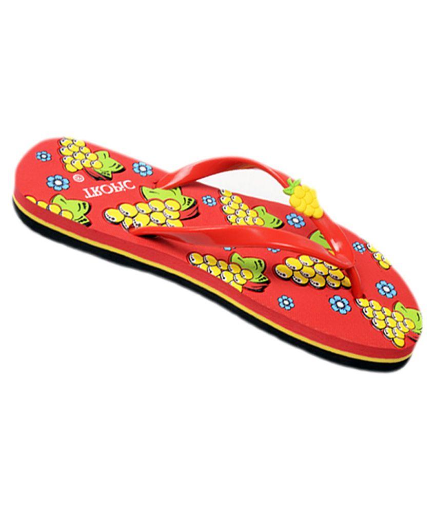 Tropic Red Flat Flip Flops