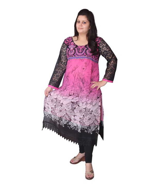 Turtulz Pink Party Fastive Georgette Kurti
