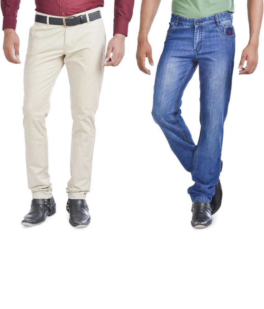 Wintage Combo Of Blue Regular Fit Jeans And Slim Fit Beige Trousers
