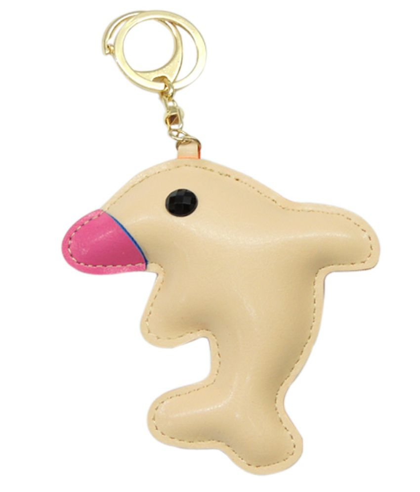 Young & Forever Lucky Fish Handmade Leather Bag Charm Key Ring & Keychain Beige