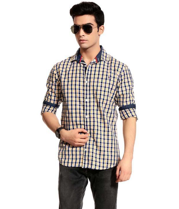 Cotton Cruz Blue Slim Fit Full Sleeves Checks Casuals Shirt