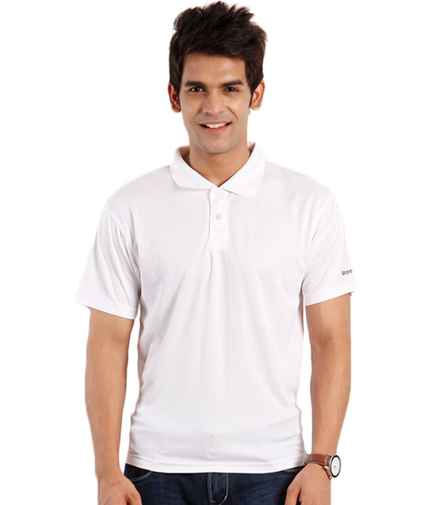 Reebok White Half Sporty Polo T-shirt