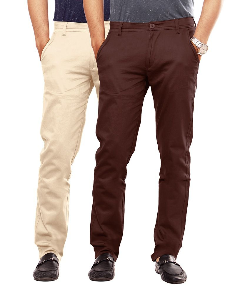 Uber Urban Beige Cotton Lycra Casuals Chinos - Pack Of 2
