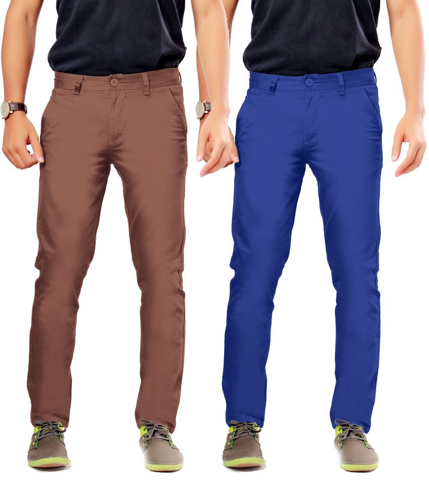 Uber Urban Brown Cotton Slim Casuals Chinos - Pack Of 2