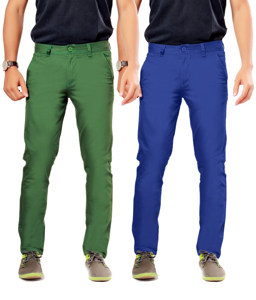 Uber Urban Green Cotton Slim Casuals Chinos - Pack Of 2