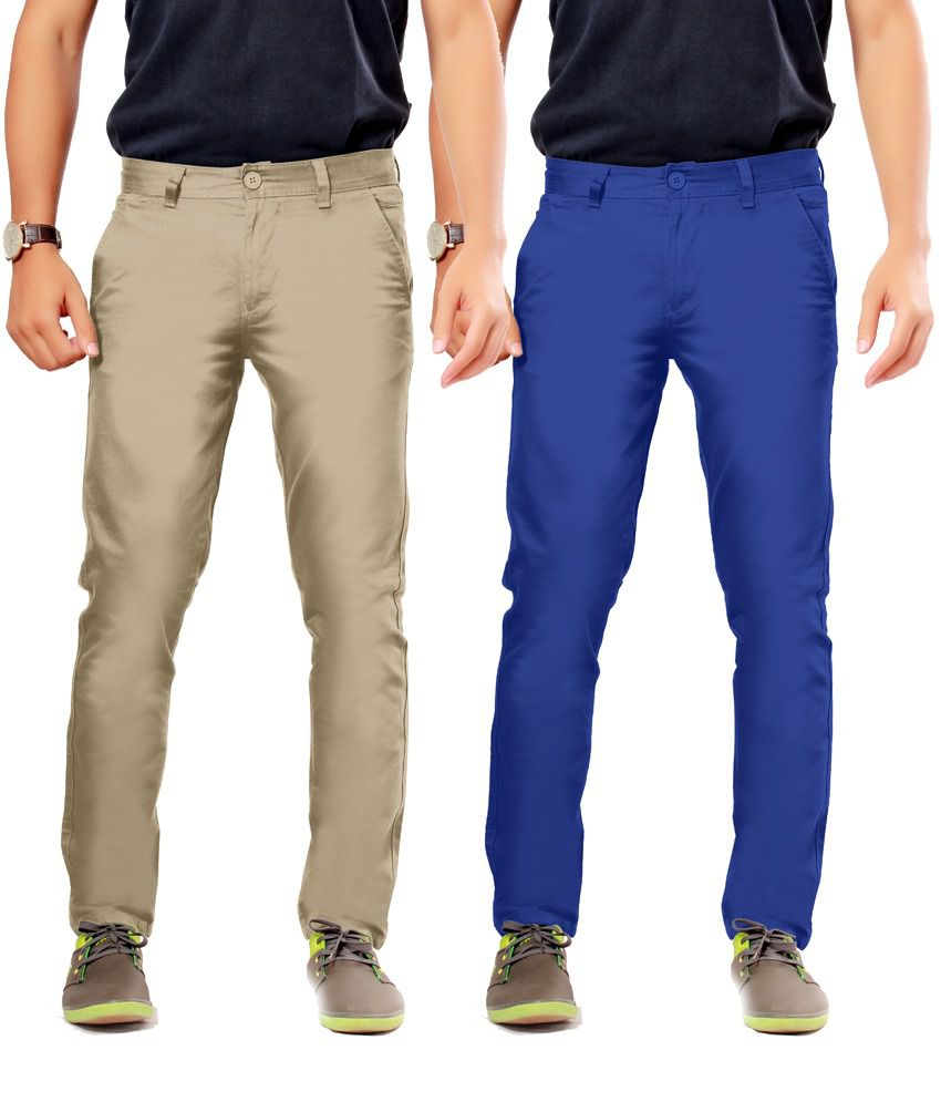 Uber Urban Khaki Cotton Slim Casuals Chinos - Pack Of 2