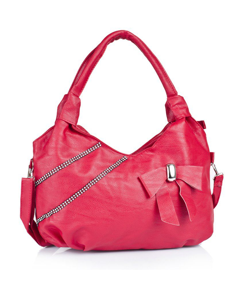 1 Bolzo Si-bow2sideseq-red Red Shoulder Bags