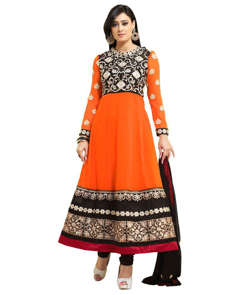 Crazy Girl Concept Orange Pure Georgette Fashionable Semi Stiched Anarkali Salwar Suit