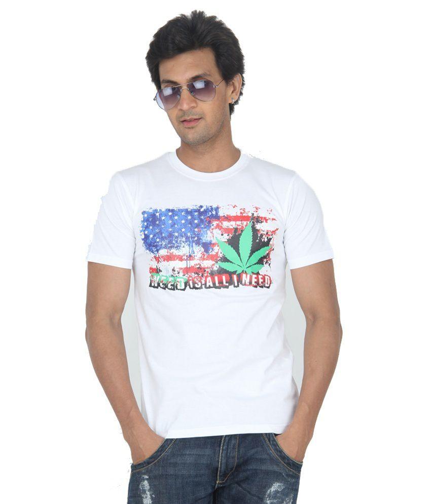 TeesTadka White Round Neck Printed Cotton Half Slevees T -Shirt