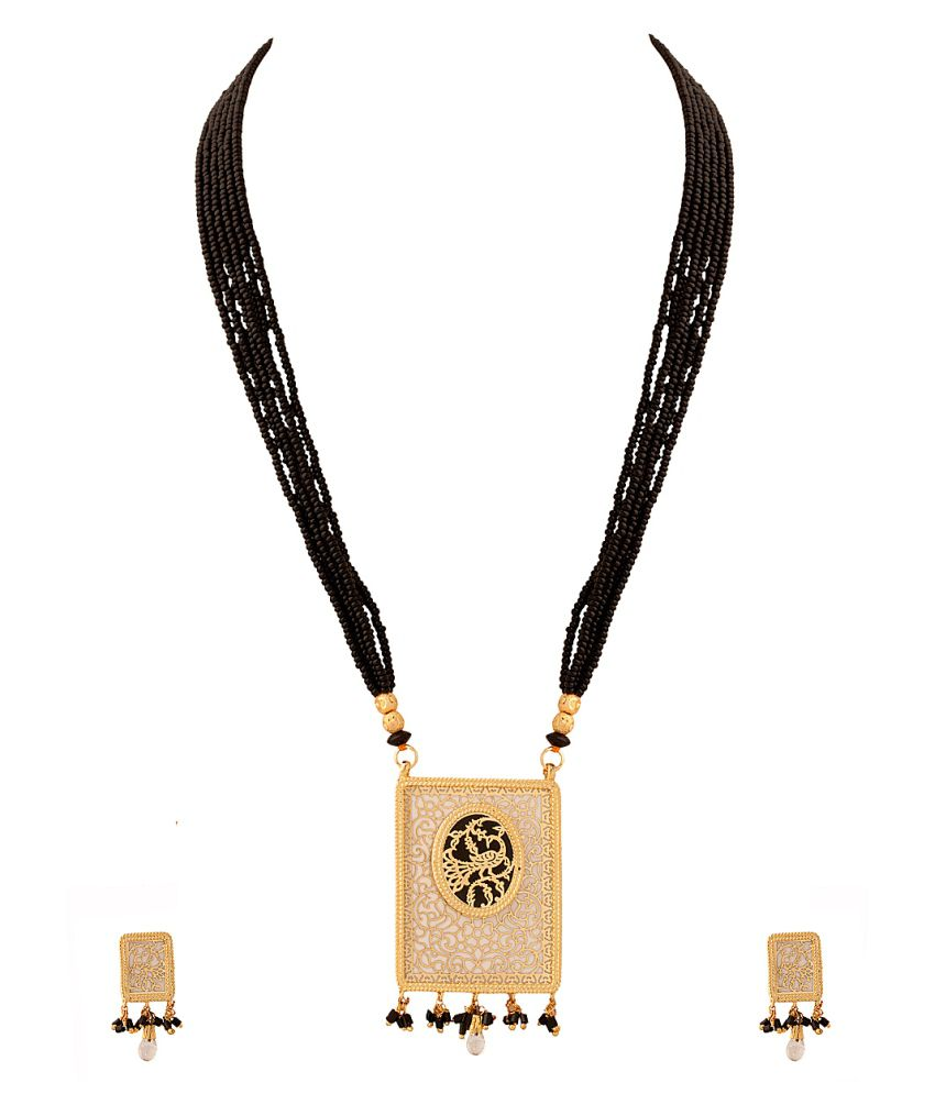 Voylla Exotic Black Color Beaded Thewa Necklace Set With White And Black Enamel Work