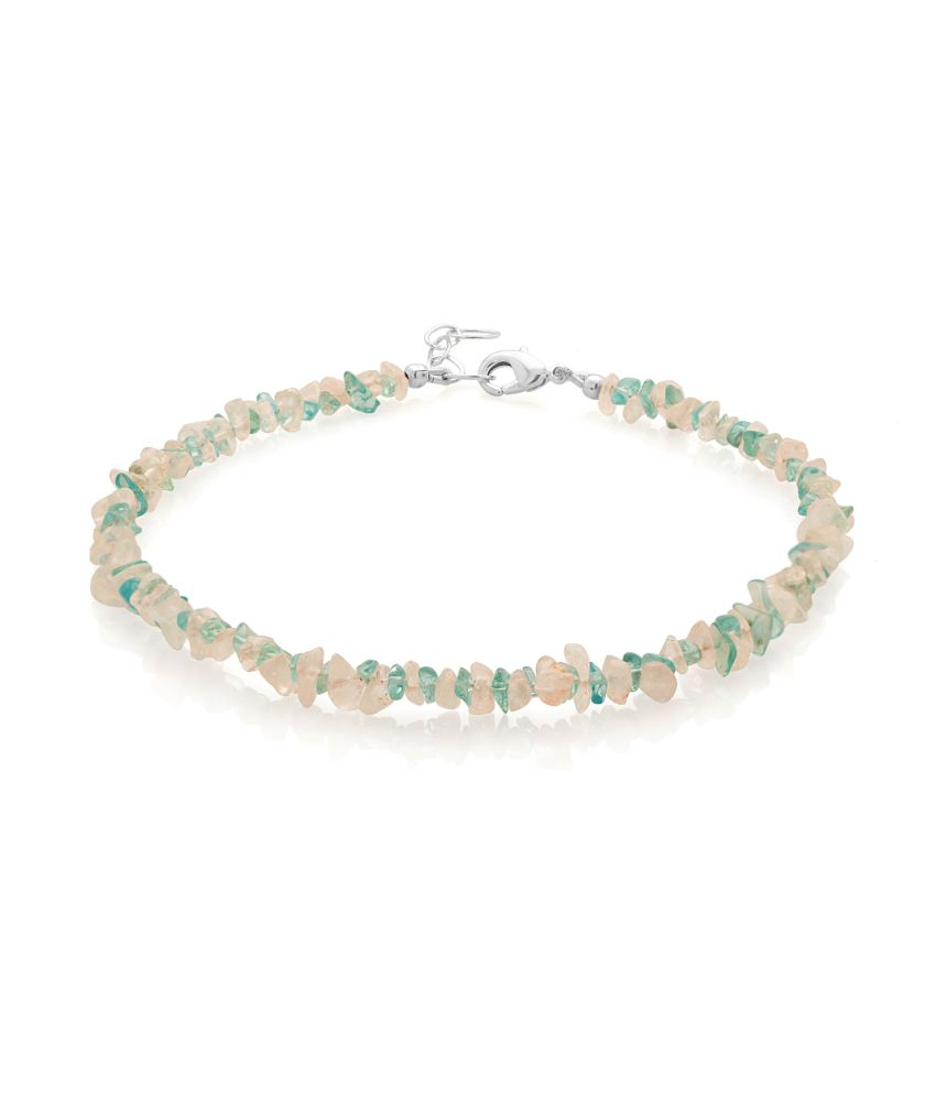 Voylla Glitzy Silver Plated Single Anklet Embellished With Blue Topaz And Rose Quartz