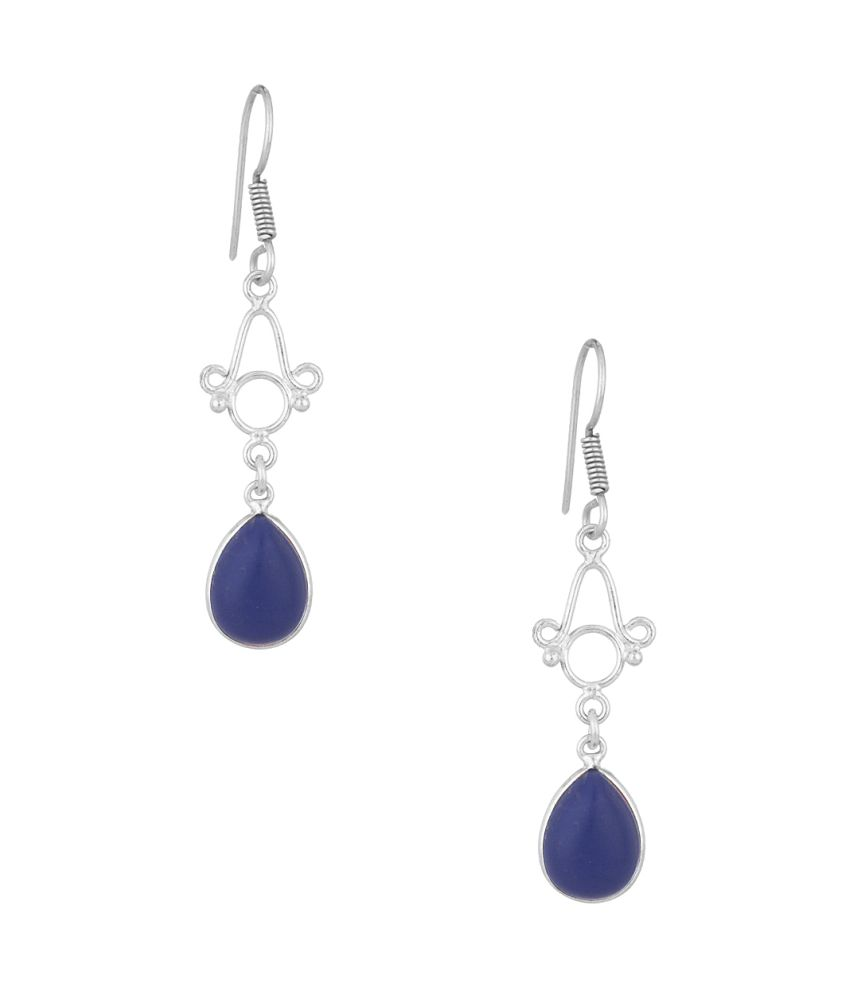 Voylla Pair Of Dangler Earrings With Blue Colored Stone