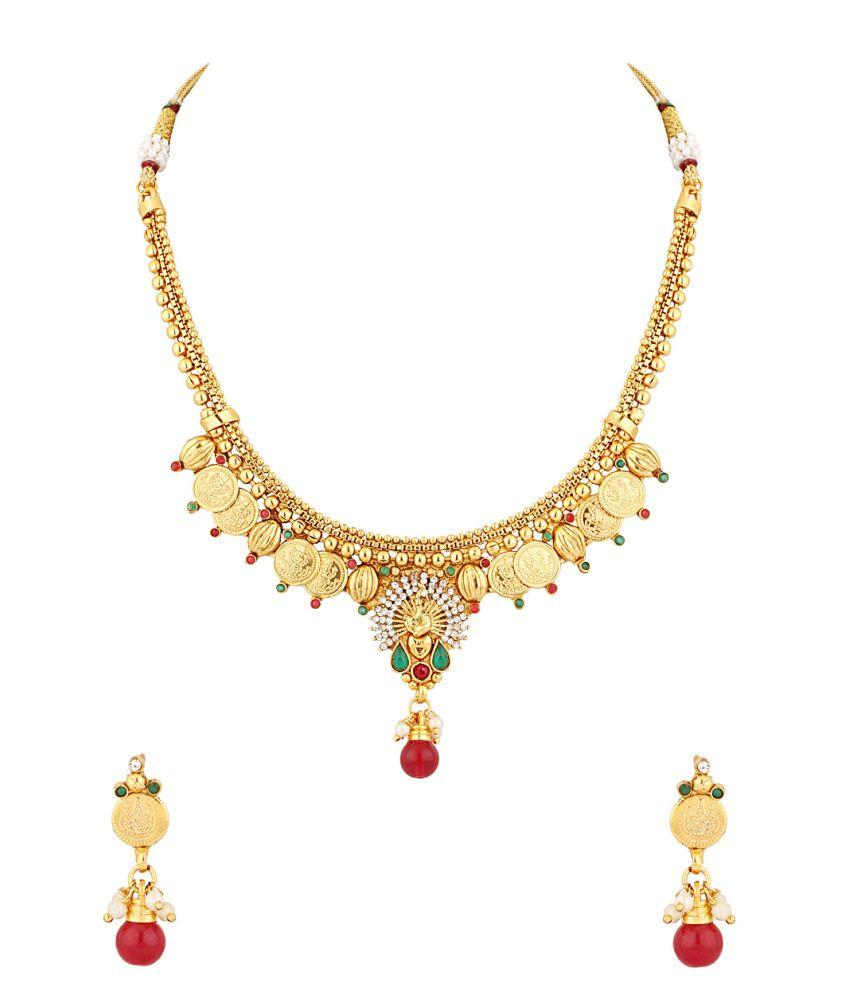 Voylla Sparkling Coin Collection Choker Necklace