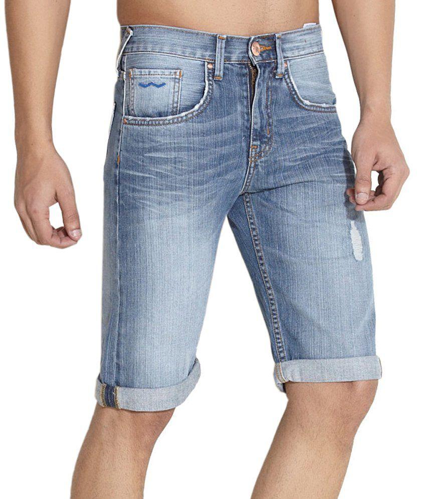 Web Jeans Blue Cotton Denim Capris