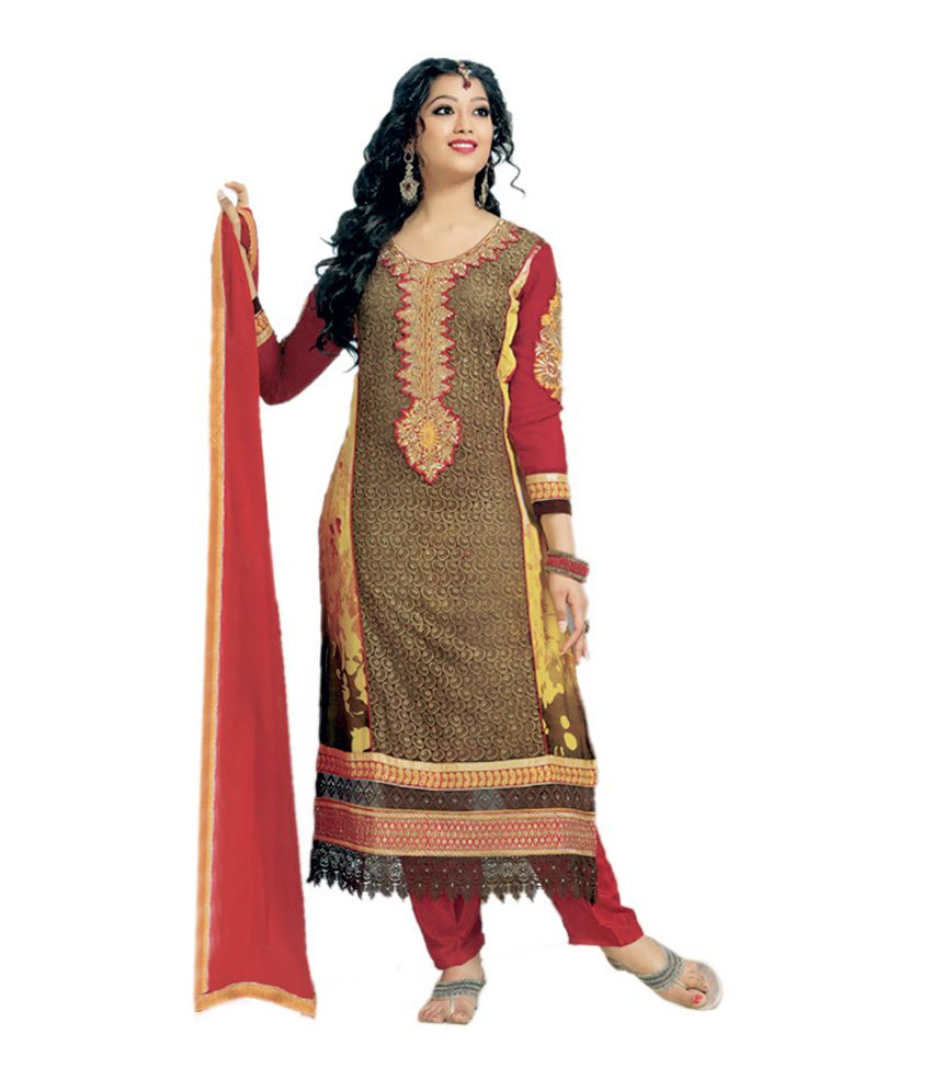 Zanas Brown Georgette Unstitched Dress Material