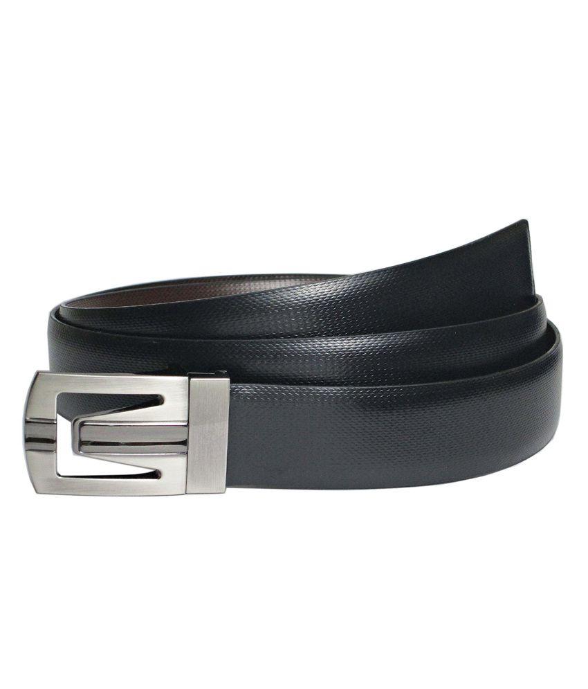 Abhinavs Black & Brown Reversible Leather Belt For Men