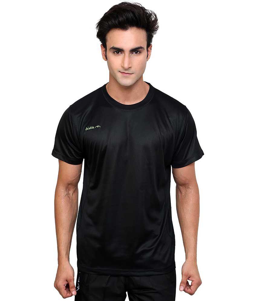Dida  Black Polyester Round Neck Half Sleeves T-shirt