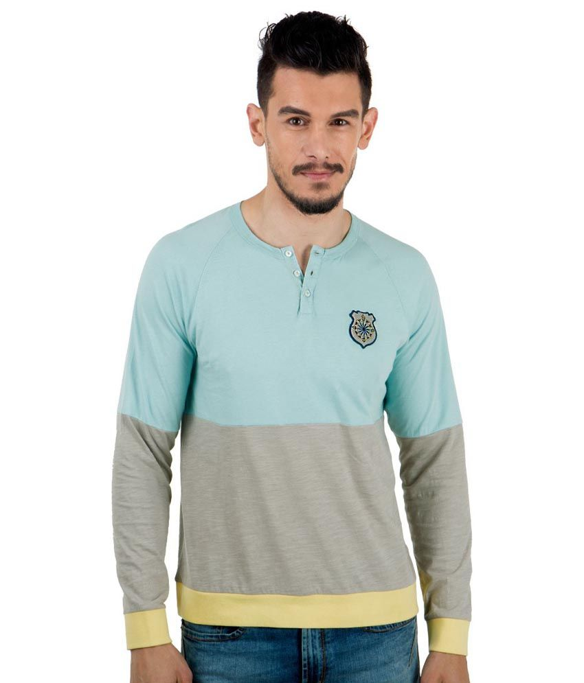 Freecultr Blue Full Sleeves Cotton Henley Neck T-shirt