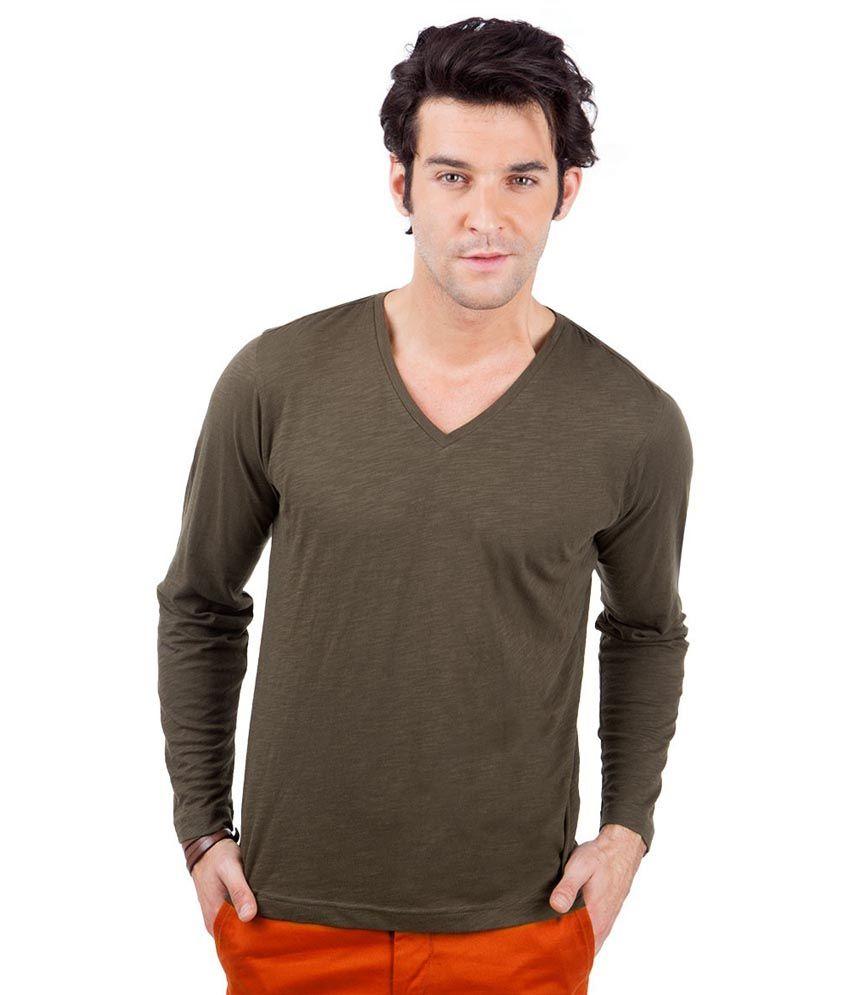 Freecultr Green Full Sleeves Cotton V-neck T-shirt
