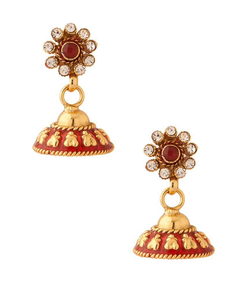 Voylla Pair Of Small Sized Jhumki Earrings With Red Enamel Work Decked With Cz
