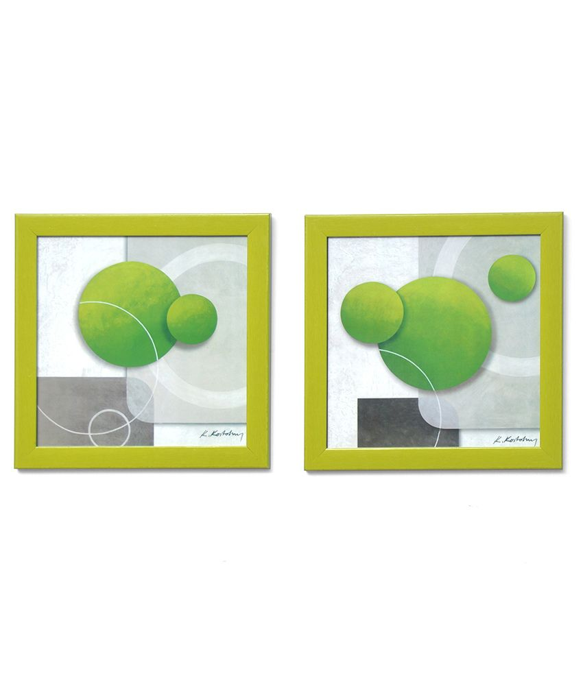 @Home Green Abstract Painting Set Of 2