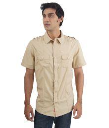 Puma Khaki Cotton Half Sleeves Casual Shirt