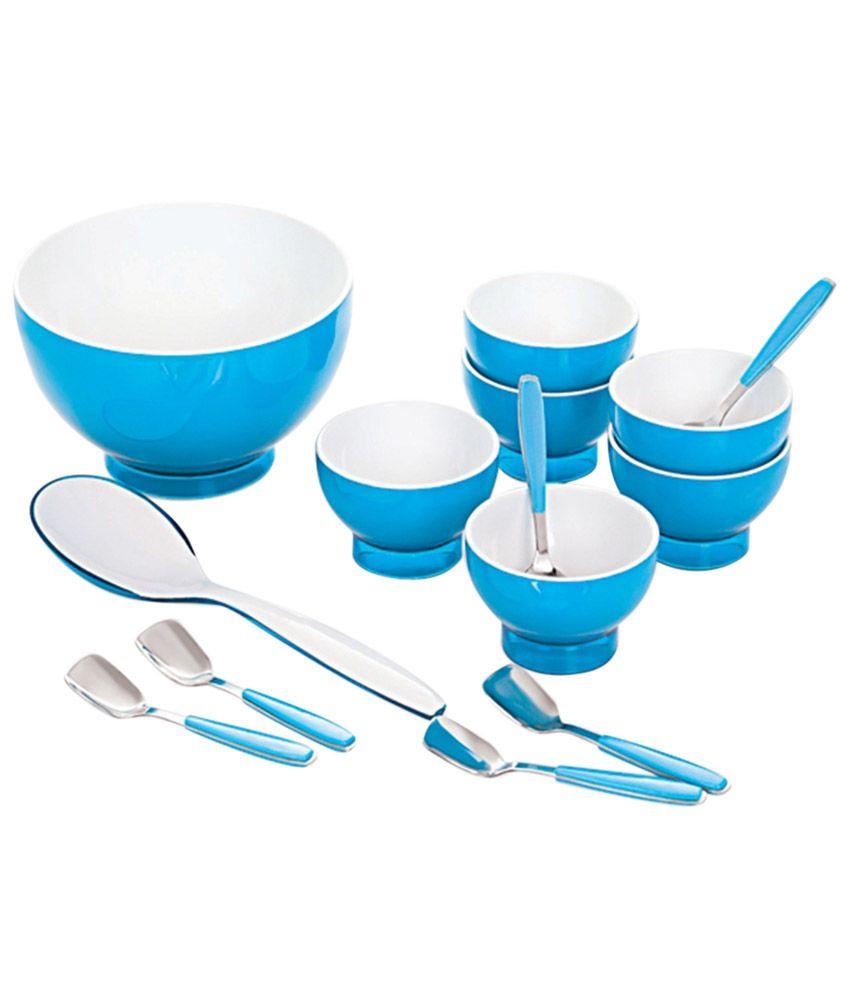 Cello Ceramica Ice Cream Bowl Set (12 Pcs) Blue: Buy Online at Best ...