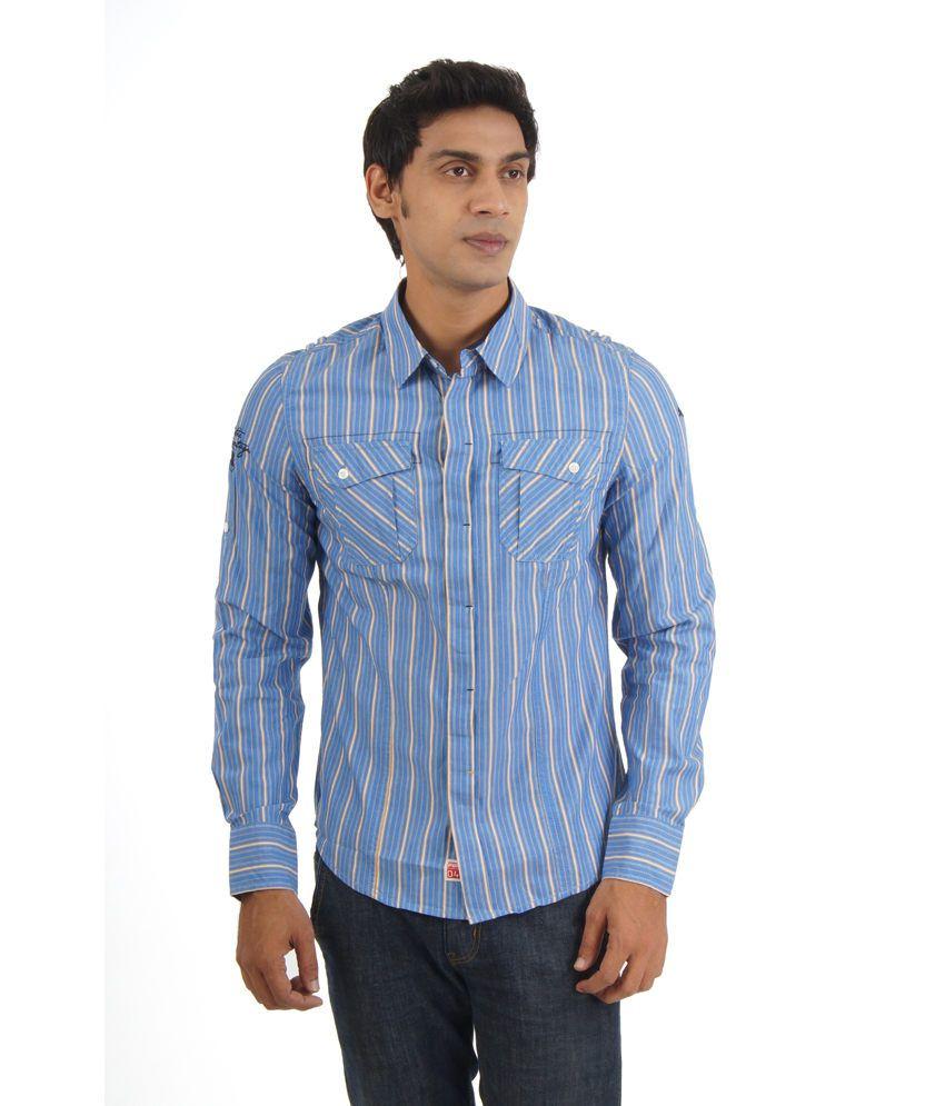 Puma Blue Cotton Full Sleeves Casual Shirt